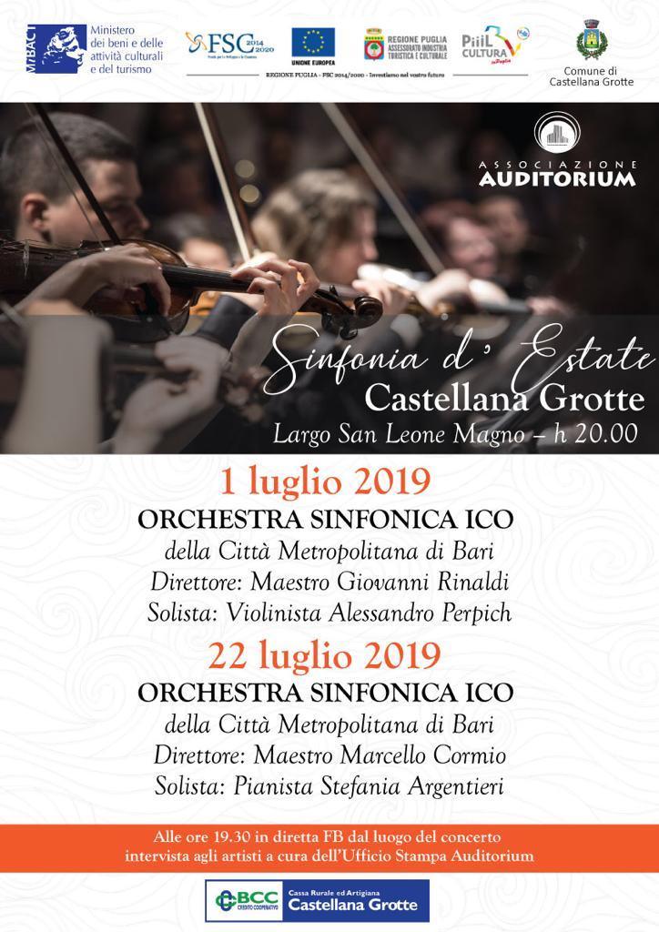 A Castellana Grotte due concerti dell'Orchestra Sinfonica della Città Metropolitana di Bari