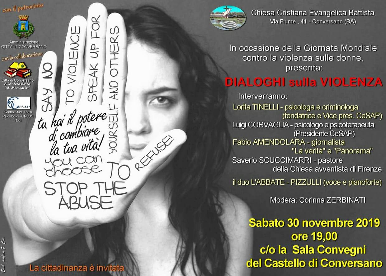 """""""Dialoghi sulla violenza """"Meeting per la  """" Giornata Mondiale  contro la  violenza sulle donne """"sabato 30 Novembre a Conversano Bari"""