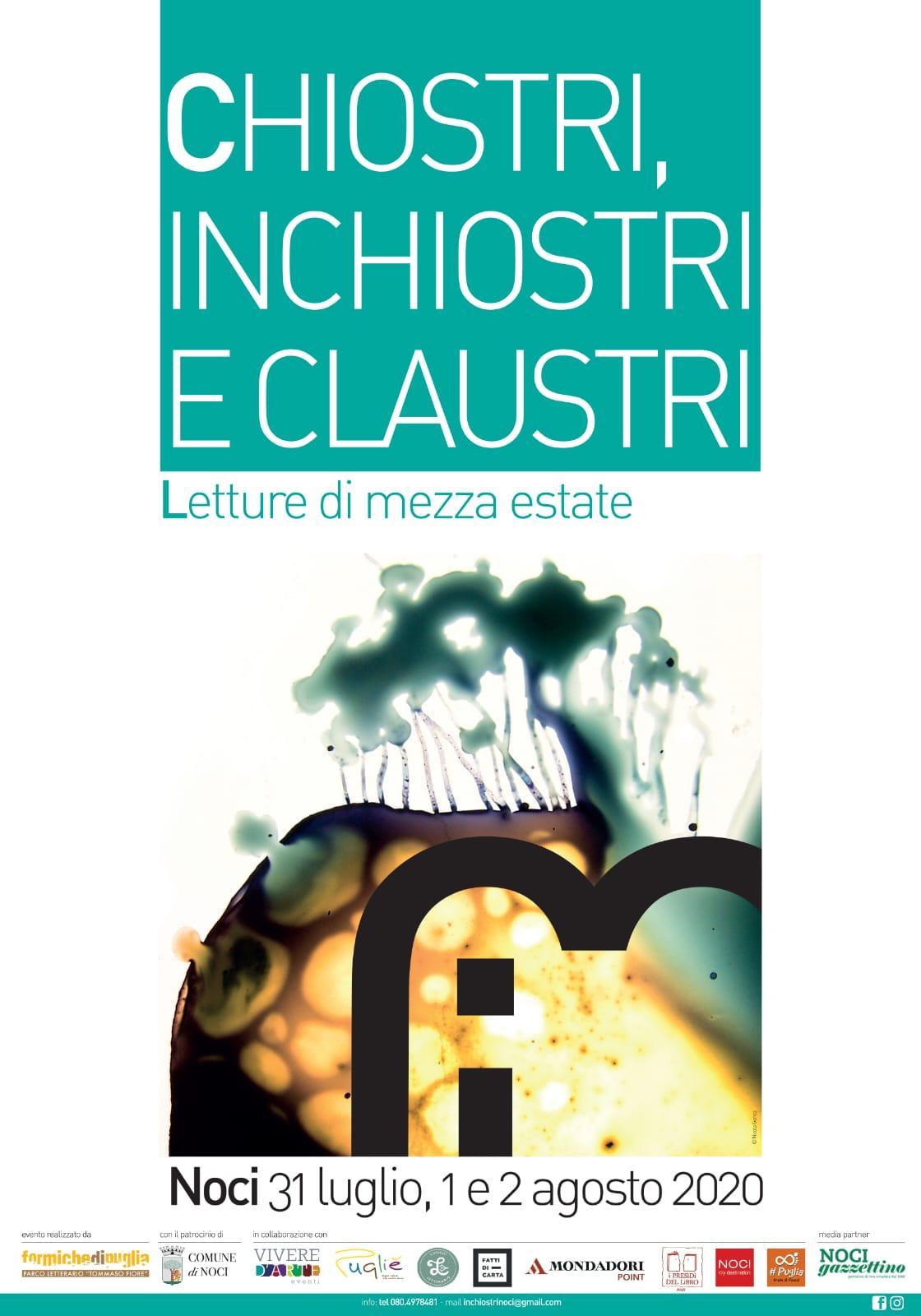CHIOSTRI, INCHIOSTRI E CLAUSTRI - Dal 31 luglio al 2 agosto a Noci il festival letterario