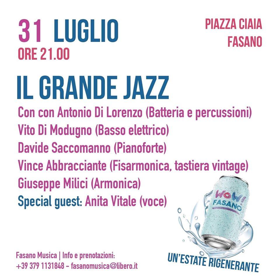 ''La musica riparte'' - Appuntamento imperdibile con il grande Jazz in piazza a Fasano con musicisti di prestigio